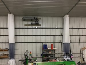 Industrial Shop Curtains Pushed Back