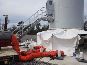 Wind Turbine Grout Tent